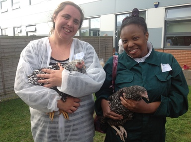 Lou and Jess with chicks